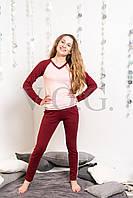 Трикотажный женский спортивный костюм, бордовый с пудрой