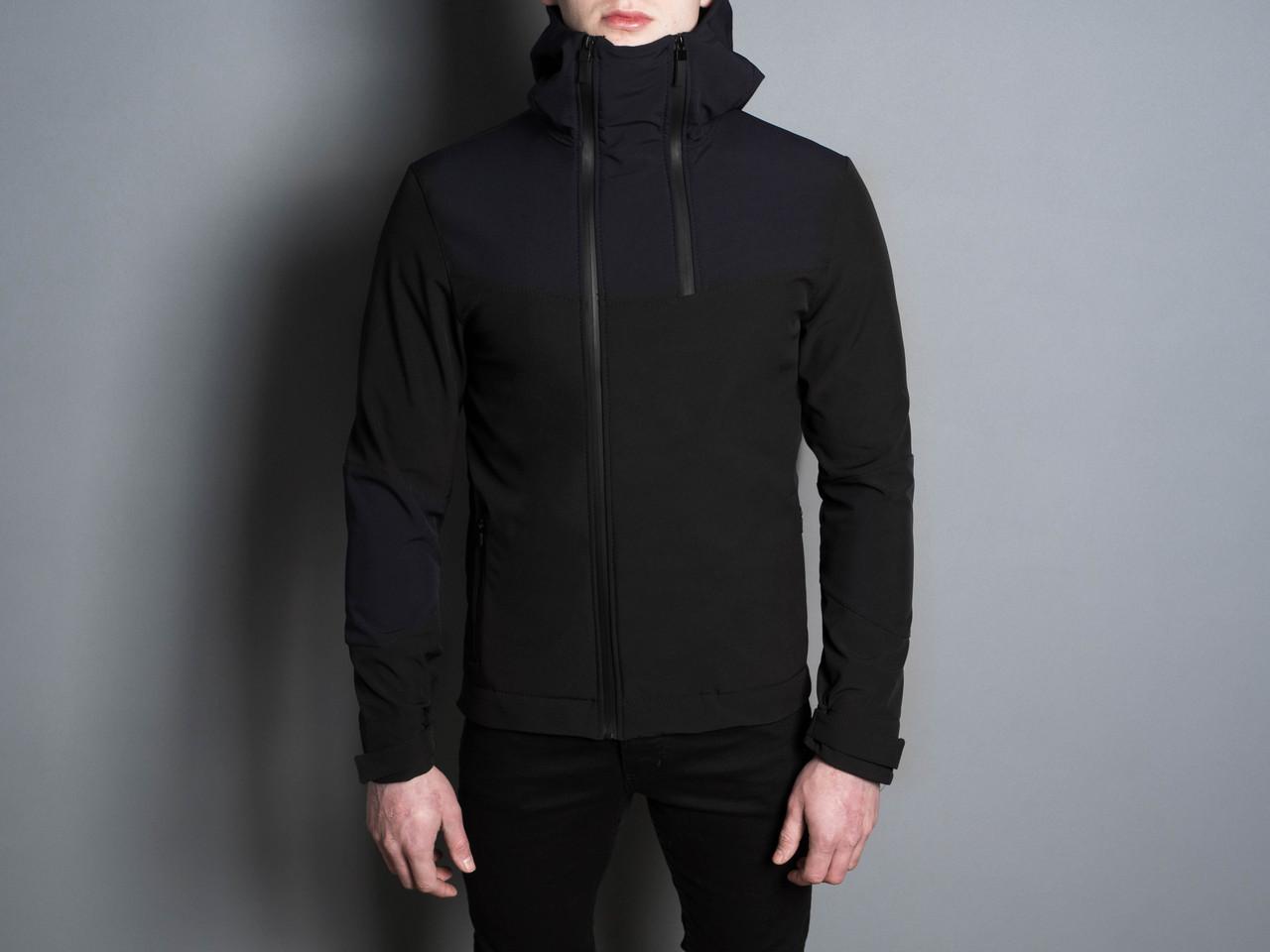 """Стильная весенняя мужская куртка  """"Pyatnitsa""""  ( черный нави )"""
