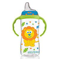 NUK, Большая бутылочка для обучения питью, от 9 месяцев, мальчик из джунглей, 1 бутылочка, 10 унций (300 мл), фото 1