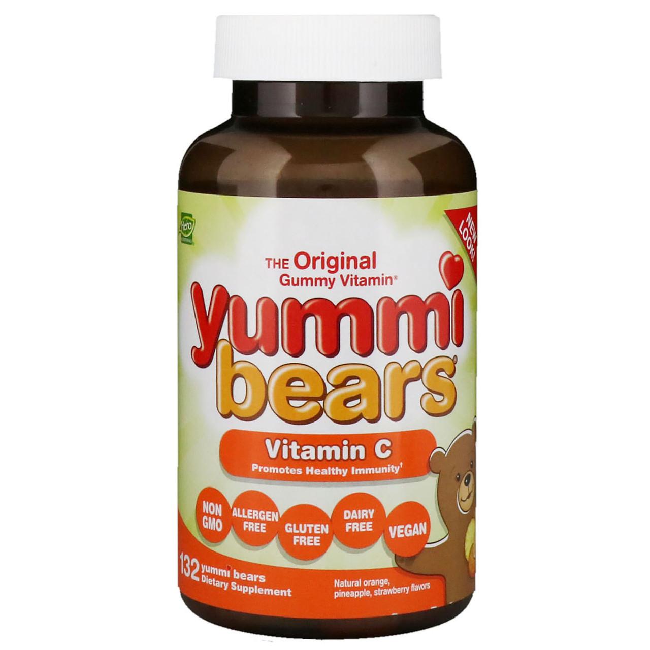 Hero Nutritional Products, Вкусные мишки, витамин С, натуральные вкусы апельсина, анананса и клубники, 132 вкусных мишки