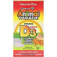 Nature's Plus, Source of Life с витамином D3, Animal Parade, детская мультивитаминная добавка с натуральным ароматом черной вишни, 500 МЕ, 90, фото 1
