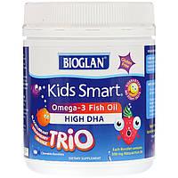 Bioglan, Kids Smart, рыбий жир омега-3, три вкуса, 180 жевательных разрывающихся капсул