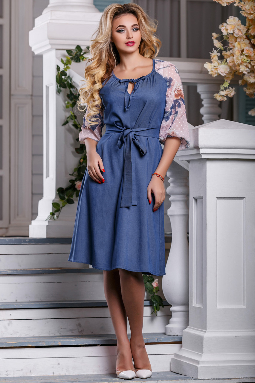 774f2048813 👶Синие платье с вышивкой на рукавах   Размер M L XL XXL  P17А6В1 - 2599