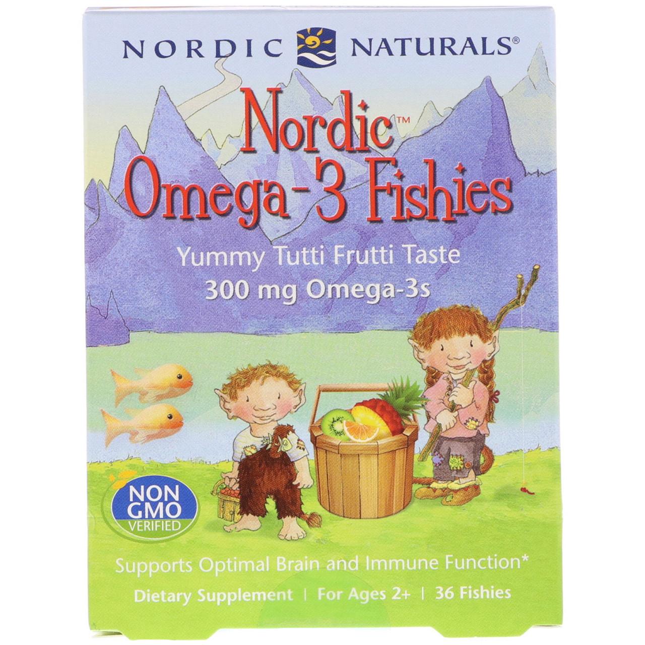 Nordic Naturals, Конфеты в виде рыбок от Nordic с омега-3, со вкусом засахаренных фруктов, 300 мг, 36 конфет