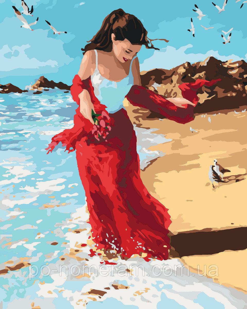 Картина по номерам Алый шарф 40 х 50 см (KH4504)