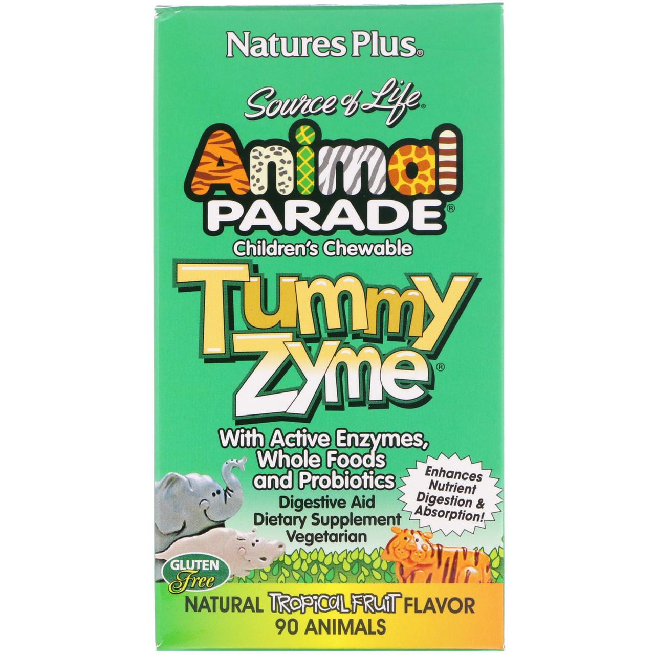 Nature's Plus, Source of Life, Animal Parade, детские жевательные конфеты Tummy Zyme, со вкусом природных тропических фруктов, 90 конфет