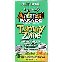Nature's Plus, Source of Life, Animal Parade, детские жевательные конфеты Tummy Zyme, со вкусом природных тропических фруктов, 90 конфет, фото 1
