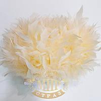 Тесьма перьевая из перьев индюка, цвет Lt Peach, цена за 0.5м