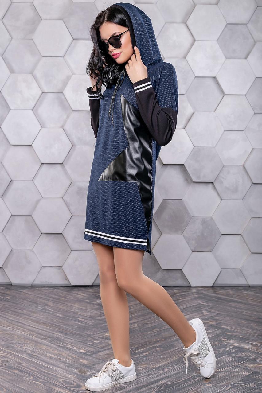 af00803b9e4 💎Короткое синее платье с капюшоном   Размер S M L XL   Код P16А6В1 - 3152+