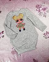 Детское платье для девочки Каприз Лол 104-122 серый