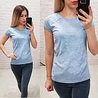 Женская футболка лето с тиснением узор голубая Турция оптом