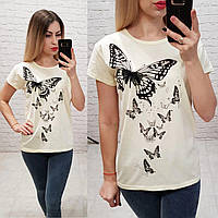 Женская футболка лето бабочки молоко Турция оптом