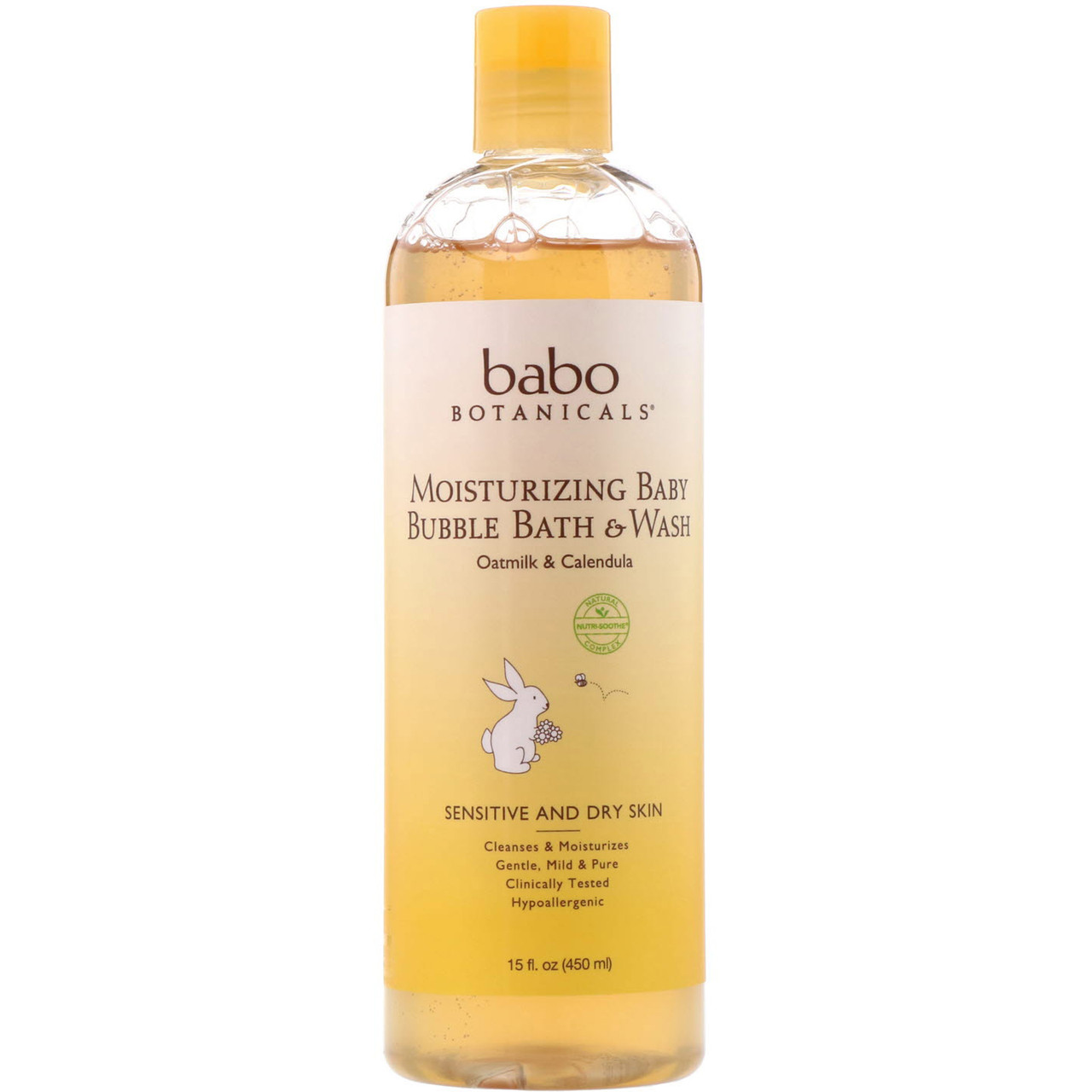 Babo Botanicals, Moisturizing Baby Bubble Bath & Wash, Oatmilk Calendula, 15 fl oz (450 ml)