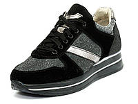 Кроссовки женские замшевые на платформе черные Mida 210130 602f633d306d9