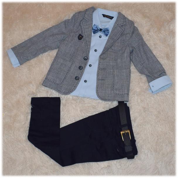 Нарядный костюм на мальчика (пиджак, рубашка, джинсы, бабочка, ремень) (Турция) размер 104 110 116 122 128