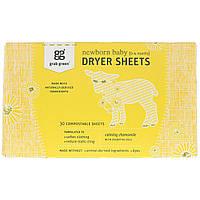 Grab Green, Салфетки с антистатиком для новорожденных, успокаивающая ромашка с эфирными маслами, 0-4 месяцев, 30 биоразлагаемых салфеток