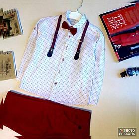 Ошатний костюм двійка котонновый на хлопчика джентельмен з підтяжками 8 років червоний