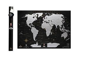 ✅ Скретч карта, My Map Black Edition, Silver, ENG, подарунок для мандрівників