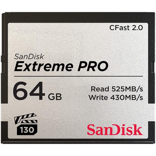 Карта памяти SanDisk 64GB Extreme PRO CFast 2.0 Memory Card (SDCFSP-064G-A46D)