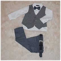 Нарядный костюм на мальчика (пиджак, рубашка, джинсы, жилетка, бабочка, ремень)  86 92 98 , фото 3