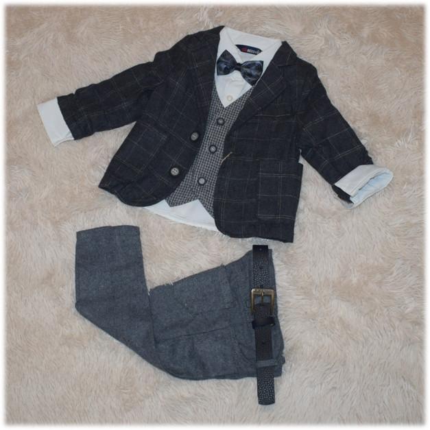 Нарядный костюм на мальчика (пиджак, рубашка, джинсы, жилетка, бабочка, ремень)  86 92 98
