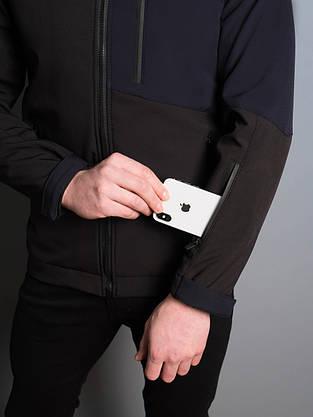"""Мужская Весенняя куртка Pobedov Soft Shell """"Boris """" (черный / синий), фото 2"""