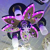 Люстра с пультом и светодиодной подсветкой 81327/3+1 BK+CR/RBP