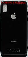 Стеклянный Защитный Чехол Iphone X черный / накладка айфон 10 бампер стеклянный