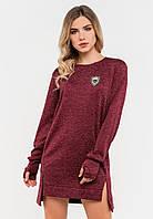 Зручне плаття з довгими рукавами з трикотажу Modniy Oazis бордовий 90327/1