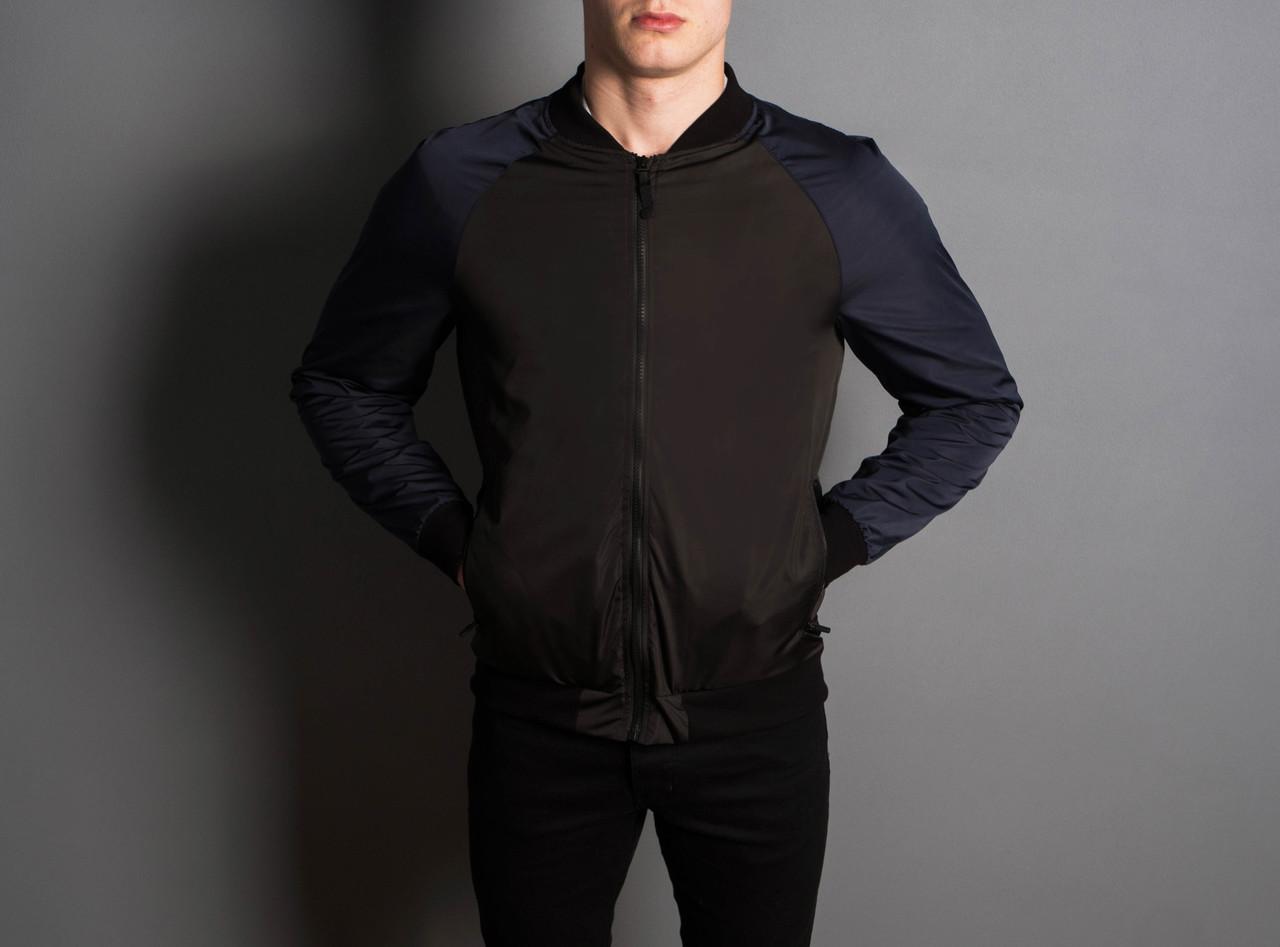 """Мужская Весенняя куртка """"PaBlo Zibrovv"""" ( черный / синий )"""