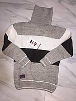 Детский свитер под горлона мальчика турецкой фирмы H&R под горло, полоска, беж