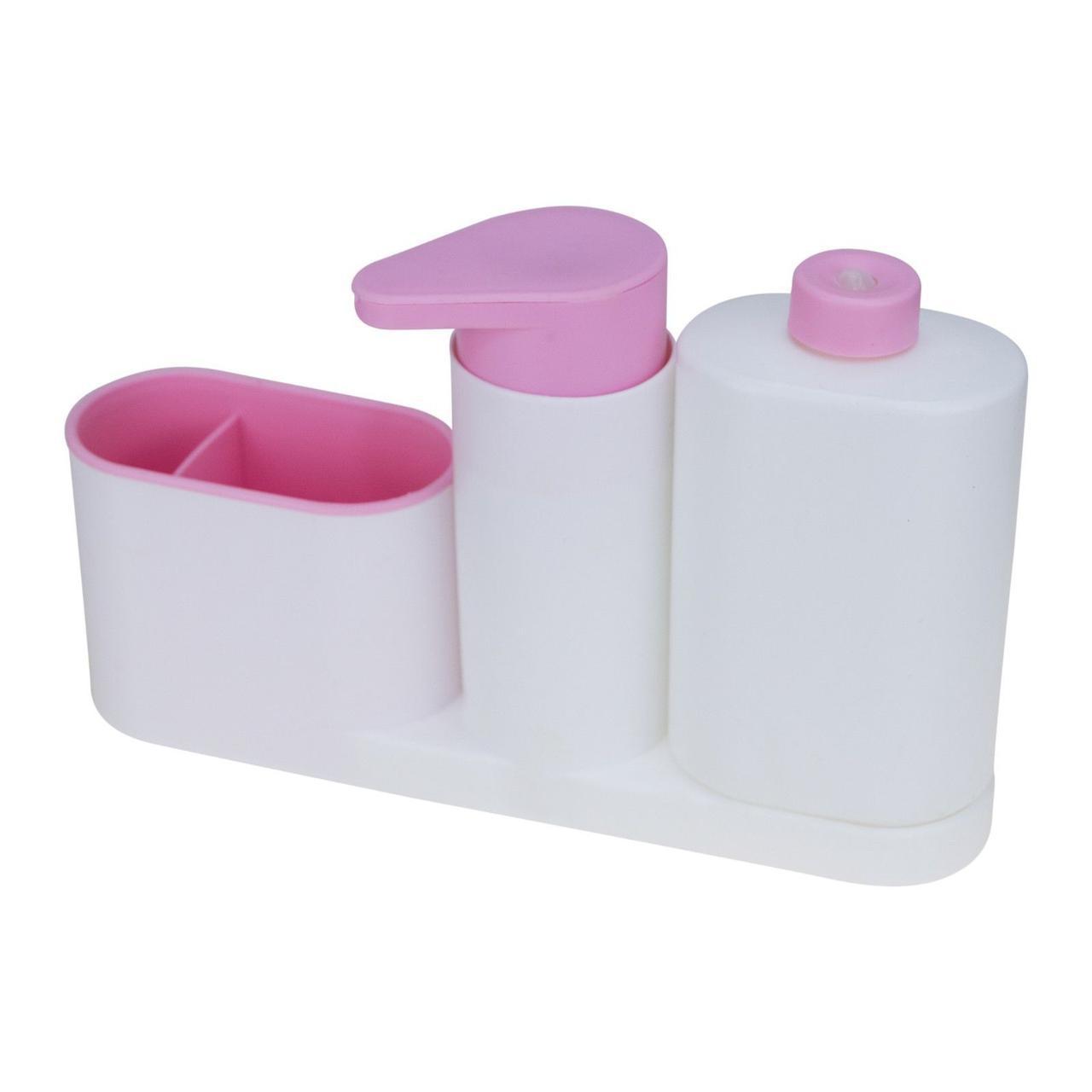 🔝 Органайзер для мойки, Sink Tidy Sey Plus, дозатор жидкого мыла, подставка под зубные щетки, розовый | 🎁%🚚