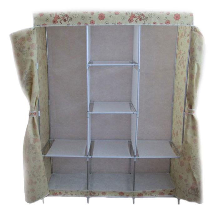 🔝 Тканевый шкаф, для одежды, Storage Wardrobe YQF130-14, шкаф чехол, цвет - бежевый с цветами | 🎁%🚚