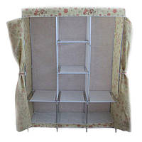 🔝 Тканевый шкаф, для одежды, Storage Wardrobe YQF130-14, шкаф чехол, цвет - бежевый с цветами | 🎁%🚚, фото 1