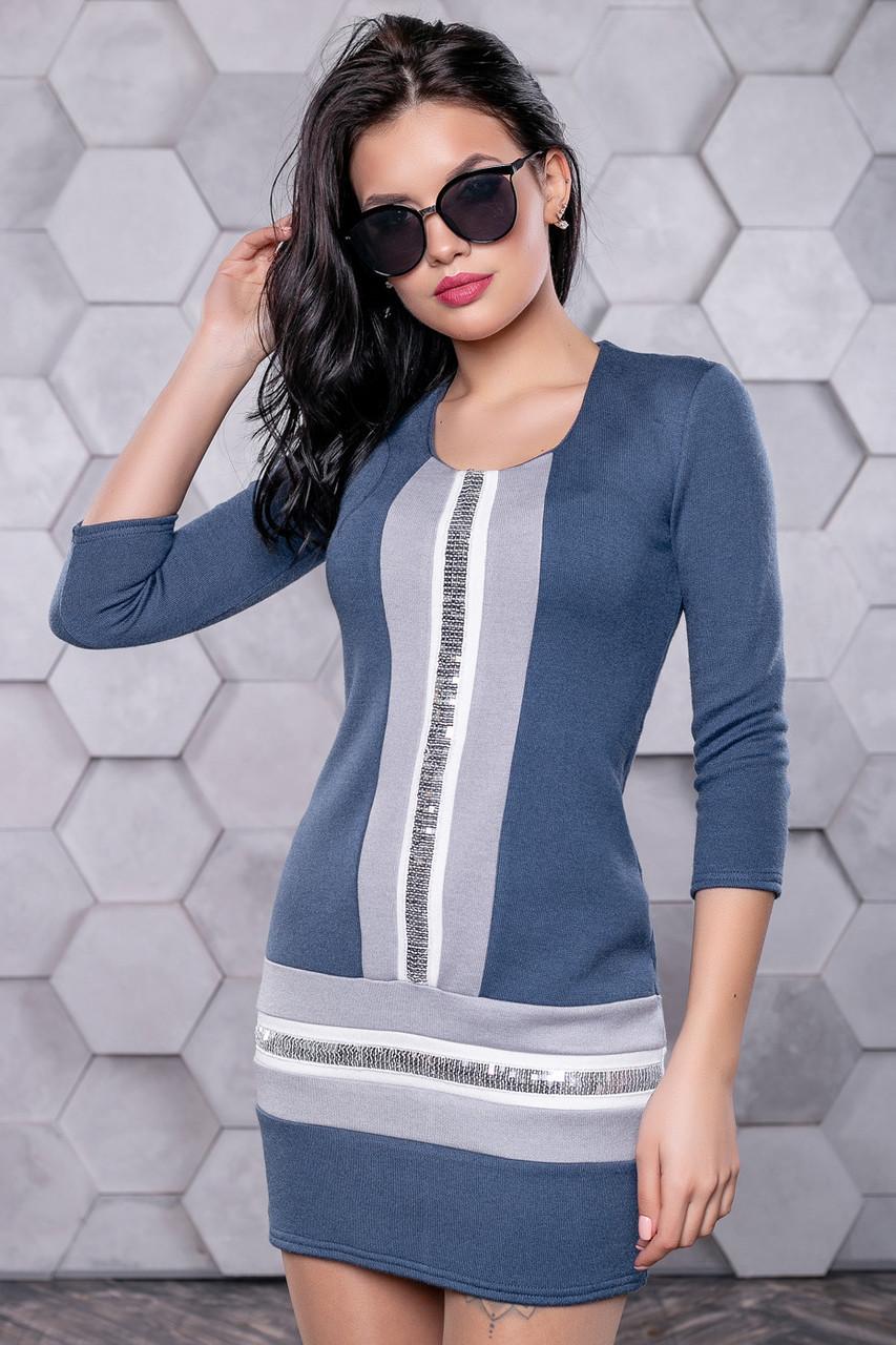 ec7ee678834 ... 👶Короткое синее платье с вставками и пайетками   Размер S M L   Код  P17А6В1 - 3157 ...