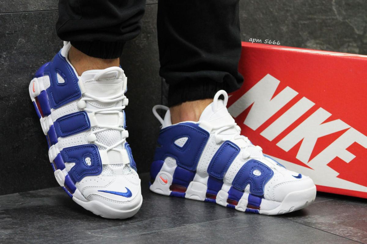 861a352a Кроссовки мужские белые с синим Nike Air More Uptempo 96 5666 ...