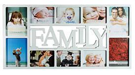 🔝 Фоторамка, Family, декоративная, на 10 фото, цвет - белый | 🎁%🚚