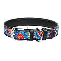 Collar WAUDOG Цветы кожаный ошейник для собак 19-25см х 12мм