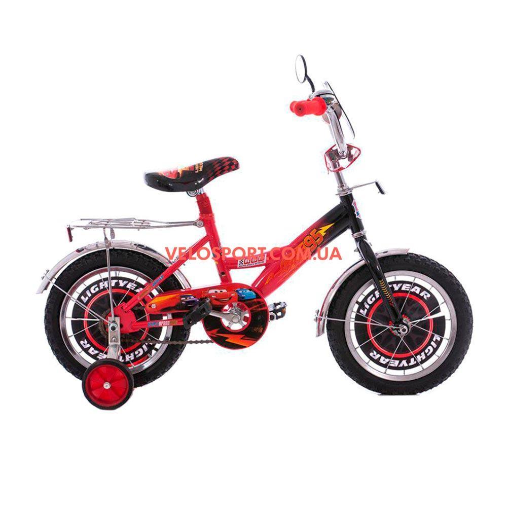 Детский велосипед Mustang Тачки 12 дюймов черно-красный
