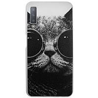 Чехол с рисунком Printed Silicone для Samsung A750 Galaxy A7 2018 Кот в очках