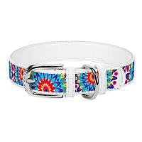 Collar WAUDOG Цветы кожаный ошейник для собак 21-29см х 12мм