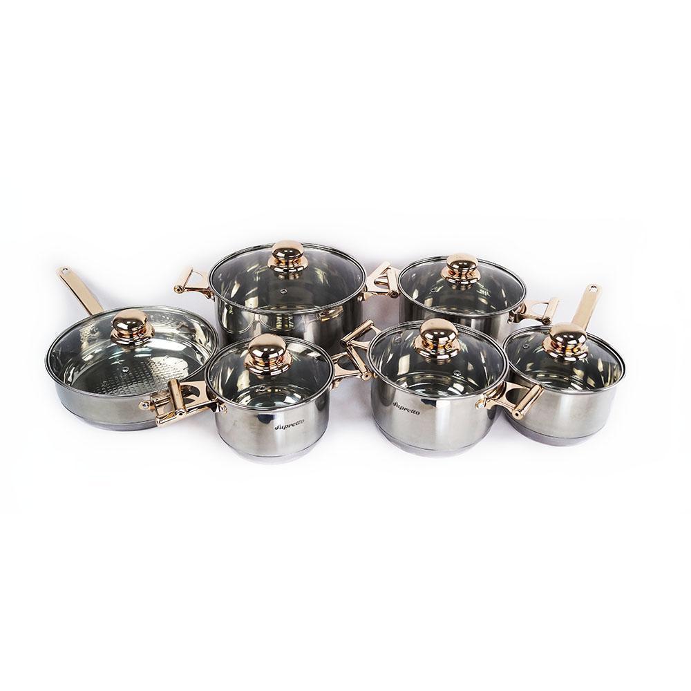 🔝 Набор кухонной посуды из нержавейки Supretto, 12 предметов, кастрюли из нержавеющей стали | 🎁%🚚