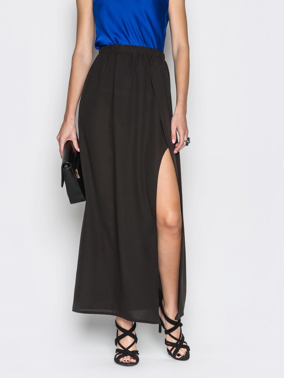 a969c4f3a04 👶Черная шифоновая длинная юбка с запахом (с поясом на резинке)   Размер 44