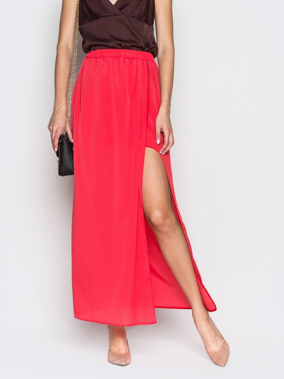 28d2135e504 👶Яркая юбка макси на запах с поясом-резинкой (красная)   Размер 44 ...