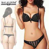 Комплект нижнего белья Balaloum 9288 черный, бюстгальтер литой Пуш + трусики стринги. Шикарное нижнее белье.