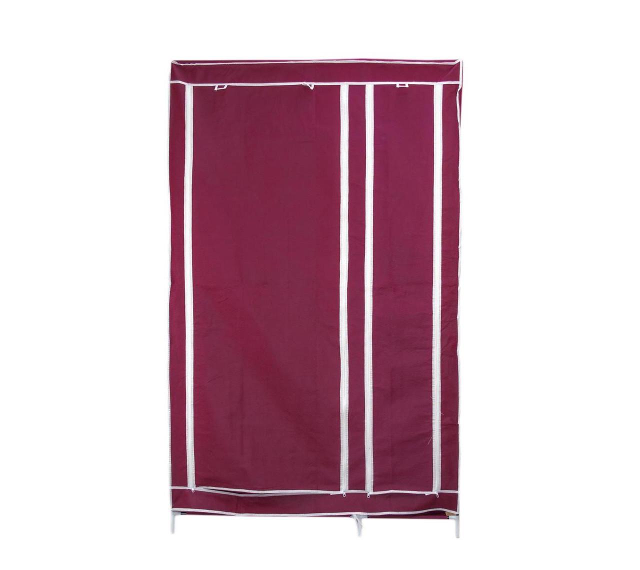🔝 Портативный тканевый шкаф-органайзер для одежды на 2 секции - бордовый | 🎁%🚚