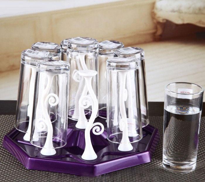 🔝 Подставка-сушилка для стаканов и чашек с держателями Kaiwen Cup Holder - фиолетовый   🎁%🚚