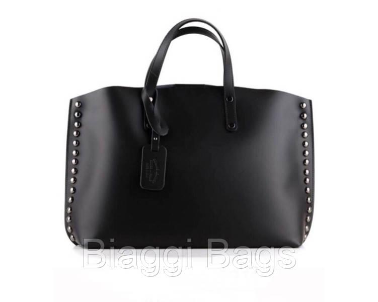 bb49434e734a Женская итальянская сумка Vera Pelle (132100) кожаная черная ...