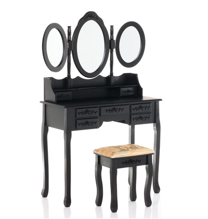 Туалетный стол ELSA 90см с зеркалами и табуретом Черный