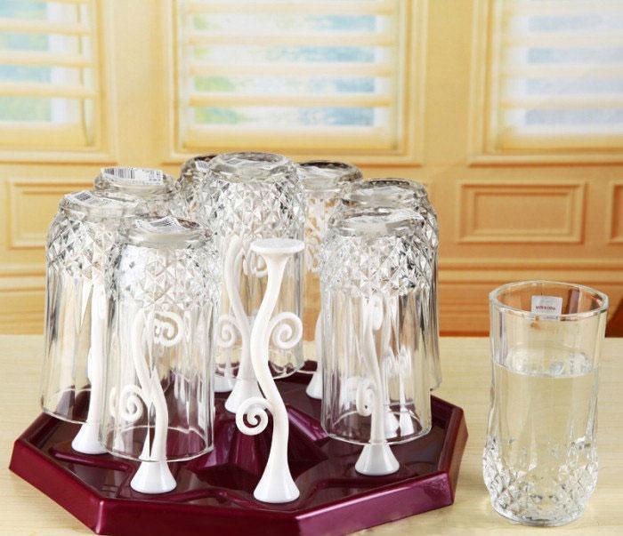 Подставка-сушилка для стаканов и чашек с держателями Kaiwen Cup Holder - бордовый